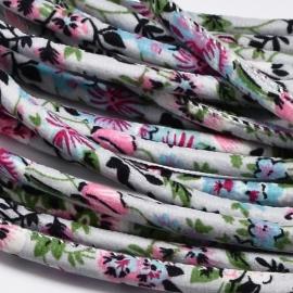 Trendy koord  20 cm grijs met bloemetjes