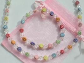Ketting en armband in roze organzazakje