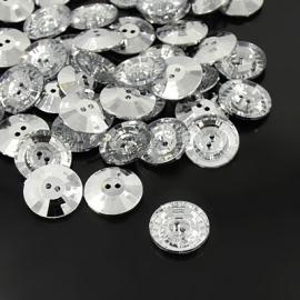 Knopen rhinestone rond 12.5mm Aantal 10