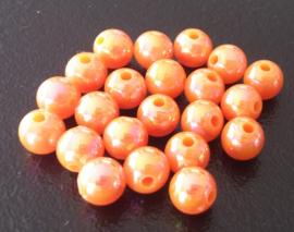 100 Kralen rond 6mm met AB glans oranje