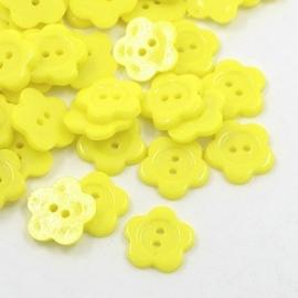 Knoop bloem geel 13.5mm