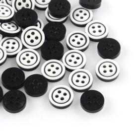 Knopen zwart wit 11x3mm Aantal 10