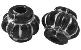 Kralen rond bol zwart 10x12mm aantal 15