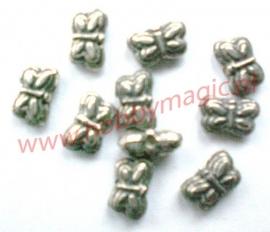 tibetaans zilveren vlinders 5x9mm  aantal 20
