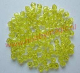 Facetkralen konisch  4mm geel aantal 100