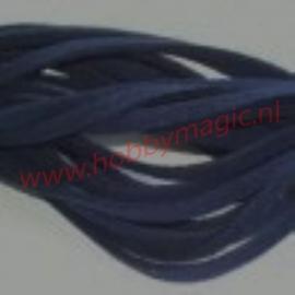 Suede veter donkerblauw