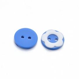 Knoop 12.5mm blauw wit