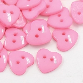 Knoop hart roze 14x14mm