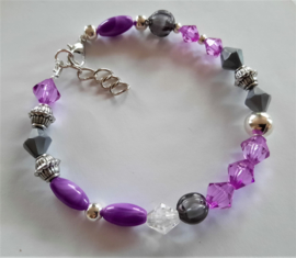 Zelfmaak armband violet grijs of kant en klaar