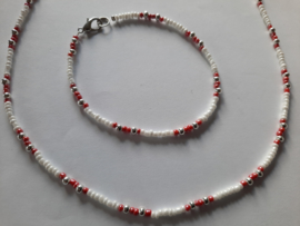 Ketting en armband  wit rood of wit donkergrijs