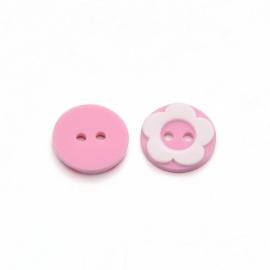 Knoop 12.5mm roze wit