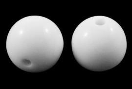 Kralen wit 6mm rond aantal 100