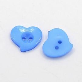 Knoop hart blauw 15x14mm