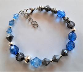 Sieraden maken armband blauw grijs of kant en klaar