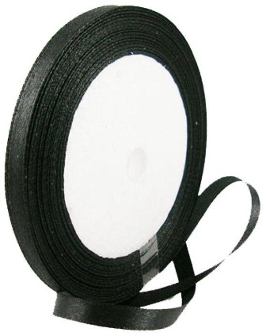 Satijnlint 6mm zwart