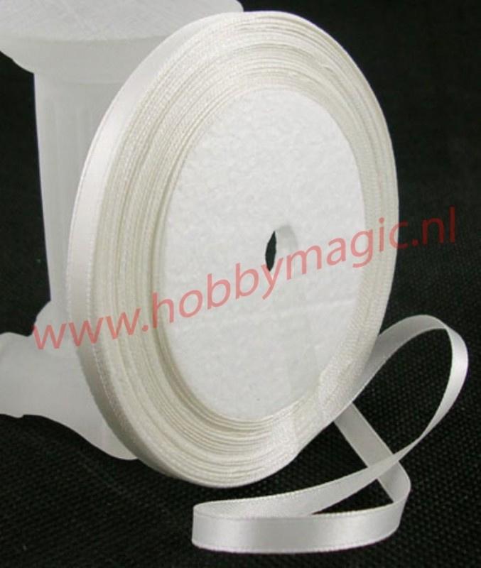 Satijnlint 6mm wit