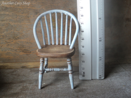 """Dollhouse miniature stick back chair blue in 1""""  scale"""