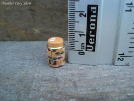 Poppenhuis miniatuur metalen blikje  met deksel voor thee