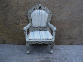 """Dollhouse miniature armchair in French style in 1"""" scale"""