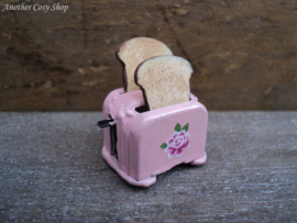 """Dollhouse miniature toaster with two pieces of toast in 1"""" scale"""
