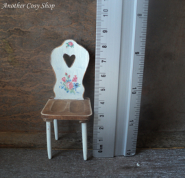 "Dollhouse miniature chair with cutout heart 1""scale"