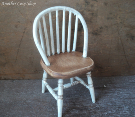 "Dollhouse miniature stick back chair white 1"" scale"