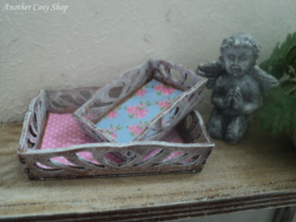 """Dollhouse miniature set of serving trays in 1"""" scale"""