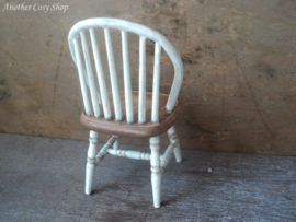"Dollhouse miniature stick back chair white 1"" scale"