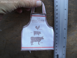 Poppenhuis miniatuur set schort met vaatdoeken 'Boucherie' schaal 1:12