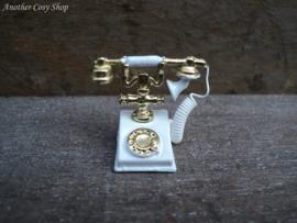 "Dollhouse miniature antique telephone white 1"" scale"