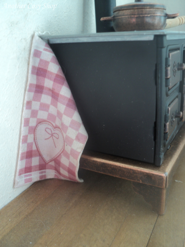 "Dollhouse miniature tea towel in 1"" scale"