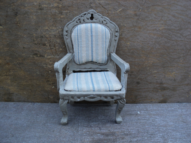 "Dollhouse miniature armchair in French style in 1"" scale"