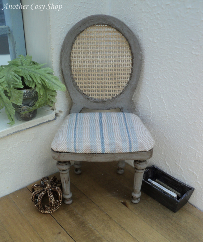 "Dollhouse miniature chair with webbing back in French style in 1""scale"