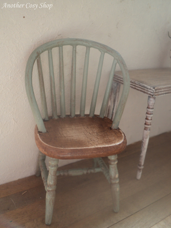 "Dollhouse miniature stick chair green 1""scale"