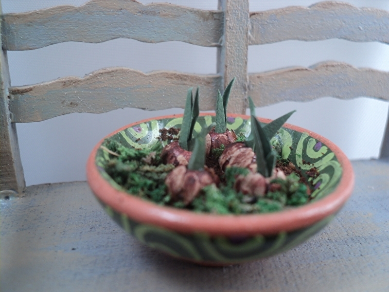 Brown bowl with flower bulbs