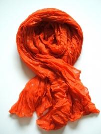 SALE. Sjaal met Sterren, oranje/zilver.