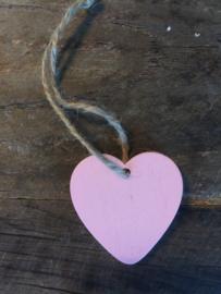 Kadolabel roze hartje hout, 20 stuks