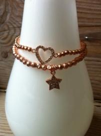 Armbandje elastiek strass Hart rosé.