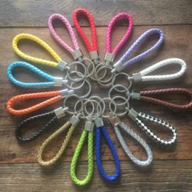 Gevlochten sleutelhanger, diverse kleuren