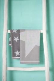 DDDDD set handdoek en theedoek met Ster in grijs of taupe.