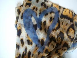 SALE. Sjaal, tijger en Harten jeansblauw.