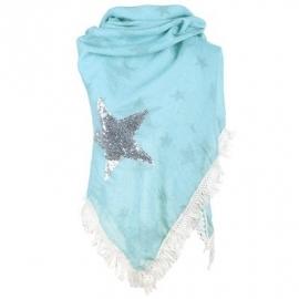 Sjaal bohemian met franjes en ster paillet zeegroen.