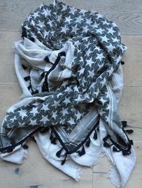 Sjaal Hippie met sterren zwart.