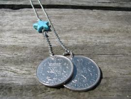 Ketting turquoise Ster en munten.
