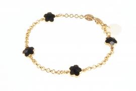 Armbandje zwart crystal, goud.