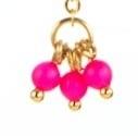 Oorbellen agaat, pareltje neon pink, Swarovski.