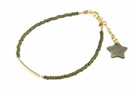 Armbandje Blinckstar buisje, legergroen/goud.