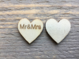 Mini houten hartjes Mr & Mrs, per 10 stuks.