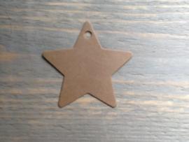 Label Ster papier bruin per 50 stuks.