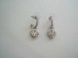 Oorbellen Hartje Astrelle, goud/zilver/rose.